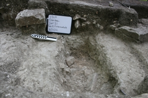 Foundation trench and blocks of the bake house